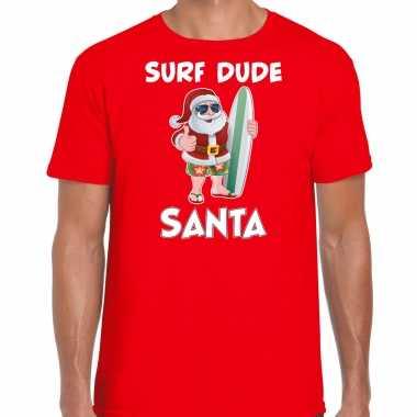 Surf dude santa fun kerstshirt / outfit rood voor heren