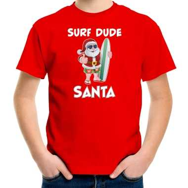 Surf dude santa fun kerstshirt / outfit rood voor kinderen