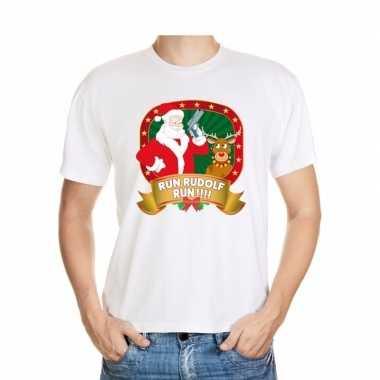 Ugly kerstmis shirt wit run rudolf voor mannen