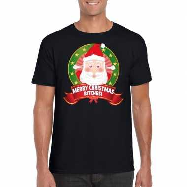 Ugly kerstmis shirt zwart merry christmas bitches voor mannen