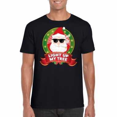Ugly kerstmis shirt zwart wiet rokende kerstman voor mannen