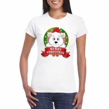 Witte ijsbeer kerst t-shirt voor dames merry christmas