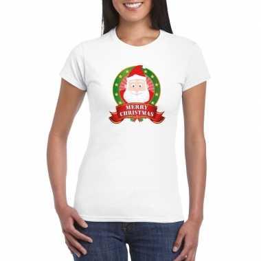 Witte kerst t-shirt met kerstman print voor dames merry christmas