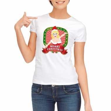 Witte kerst t-shirt voor dames merry christmas