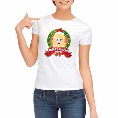 Witte kerst t-shirt voor dames merry x-mas boys