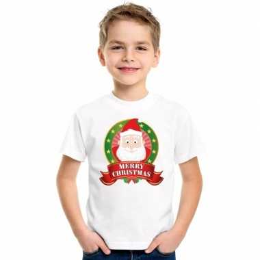 Witte kerst t-shirt voor kinderen de kerstman