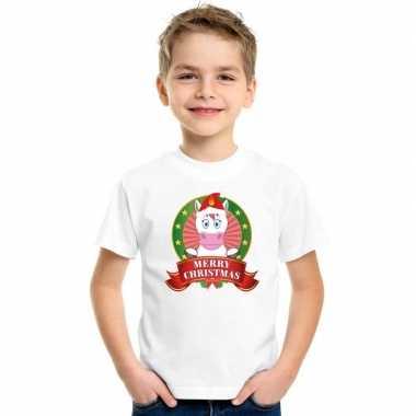 Witte kerst t-shirt voor kinderen met eenhoorn