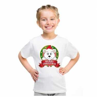 Witte kerst t-shirt voor kinderen met ijsbeer
