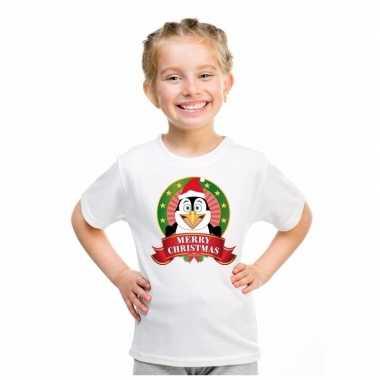 Witte kerst t-shirt voor kinderen met pinguin