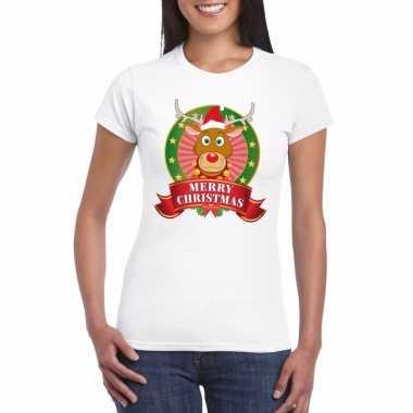 Witte rudolf kerst t-shirt voor dames merry christmas