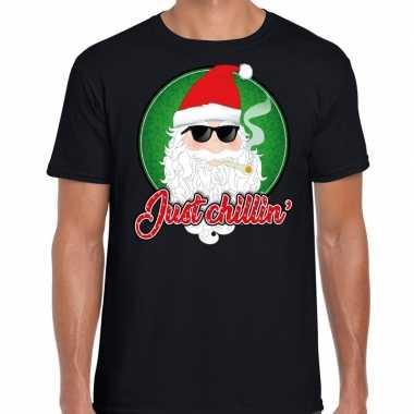 Zwart fout kerstshirt / t-shirt just chillin voor heren