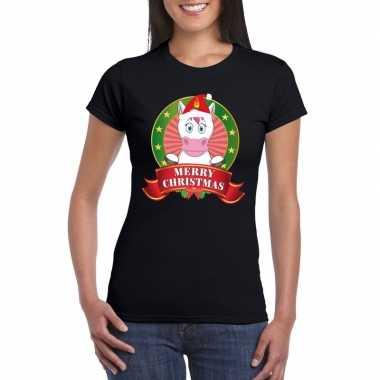 Zwarte eenhoorn kerst t-shirt voor dames merry christmas