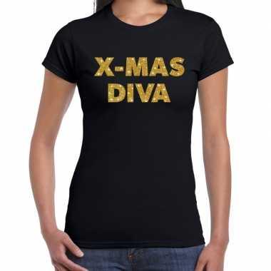Zwarte foute kerst t-shirt x-mas diva gouden letters voor dames