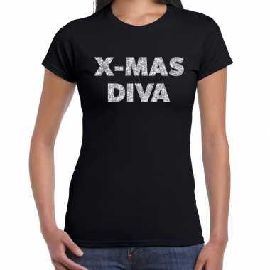 Zwarte foute kerst t-shirt x-mas diva zilveren letters voor dames
