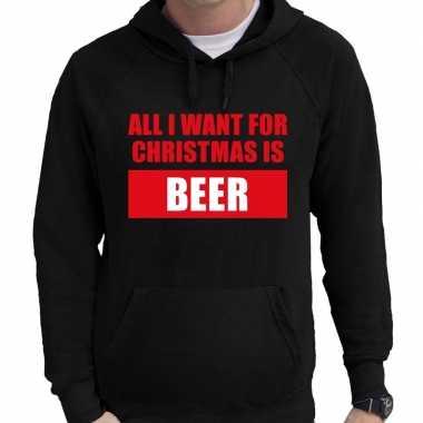 Zwarte foute kersthoodie / hooded sweater all i want for christmas is beer voor heren