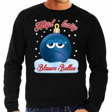 Zwarte foute kerstsweater / trui blauwe ballen / blue balls voor heren