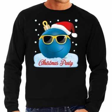 Zwarte foute kerstsweater / trui christmas party voor heren