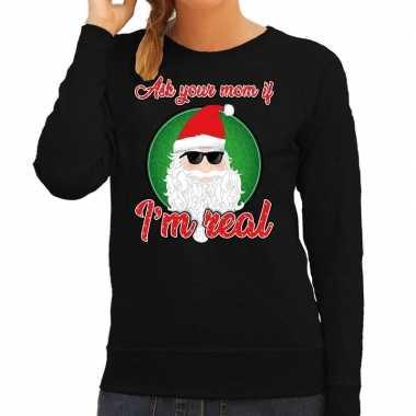 Zwarte foute kersttrui / sweater ask your mom voor dames
