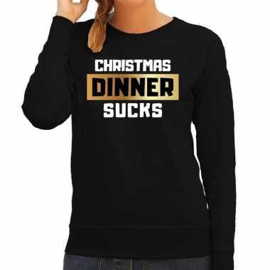 Zwarte foute kersttrui / sweater christmas dinner / kerstdiner sucks voor dames