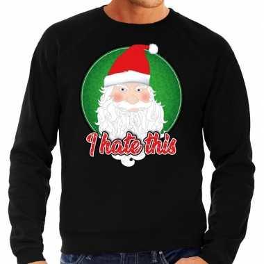 Zwarte foute kersttrui / sweater i hate this voor heren