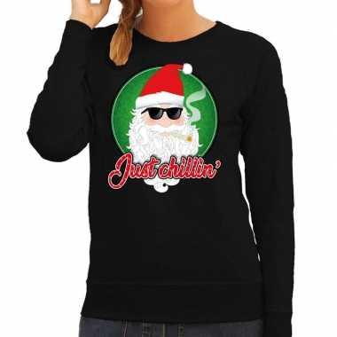 Zwarte foute kersttrui / sweater just chillin voor dames