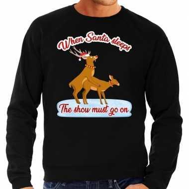Zwarte foute kersttrui / sweater rendieren aan het seksen voor heren