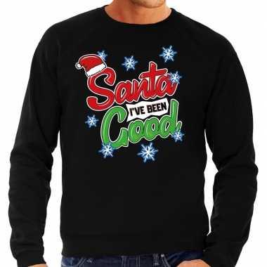 Zwarte foute kersttrui / sweater santa i have been good voor heren