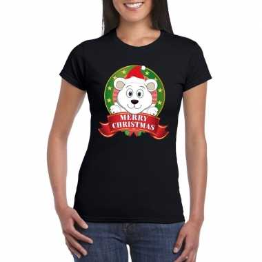 Zwarte ijsbeer kerst t-shirt voor dames merry christmas