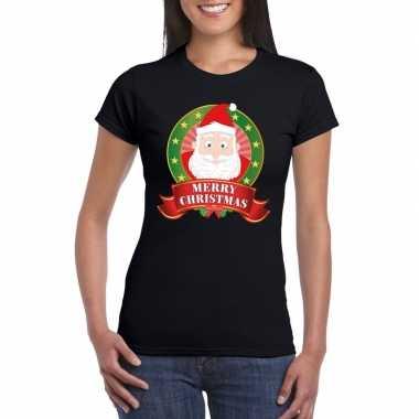 Zwarte kerst t-shirt met kerstman print voor dames merry christmas