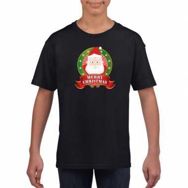 Zwarte kerst t-shirt voor kinderen de kerstman