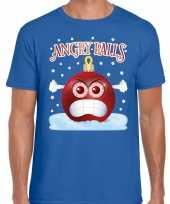 Blauw fout kerstshirt t shirt angry balls voor heren
