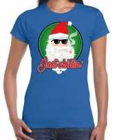 Blauw fout kerstshirt t shirt just chillin voor dames