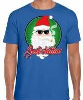 Blauw fout kerstshirt t shirt just chillin voor heren