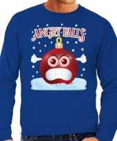 Blauwe foute kerstsweater trui angry balls voor heren