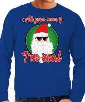 Blauwe foute kersttrui sweater ask your mom voor heren