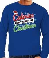 Blauwe foute kersttrui sweater calorieen tellen niet tijdens kerst voor heren