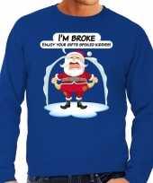 Blauwe foute kersttrui sweater im broke enjoy your gits voor heren