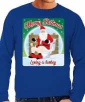 Blauwe foute kersttrui sweater merry shitmas losing a turkey voor heren