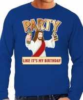 Blauwe foute kersttrui sweater party jezus voor heren