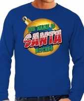 Blauwe foute kersttrui sweater the name is santa bitches voor heren