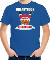 Fun kerstshirt outfit did anybody hear my fart blauw voor kinderen
