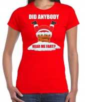 Fun kerstshirt outfit did anybody hear my fart rood voor dames