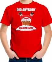 Fun kerstshirt outfit did anybody hear my fart rood voor kinderen
