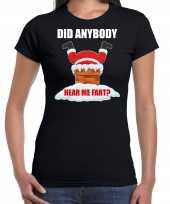 Fun kerstshirt outfit did anybody hear my fart zwart voor dames