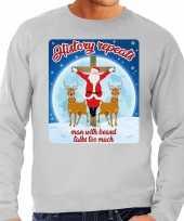 Grijze foute kersttrui sweater history repeats too voor heren