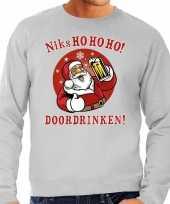 Grijze foute kersttrui sweater kerstman aan de drank voor heren