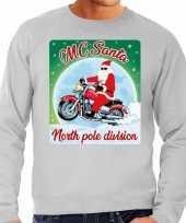 Grijze foute kersttrui sweater mc santa voor motor fans voor heren
