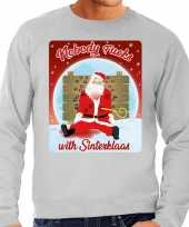 Grijze foute kersttrui sweater nobody fucks with sinterklaas voor heren