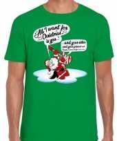 Groen fout kerst shirt kerstman die gitaar speelt en zingt voor heren