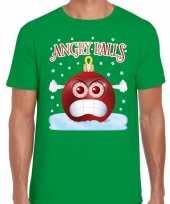 Groen fout kerstshirt t shirt angry balls voor heren